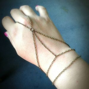 Antique Brass Slave Bracelet Caged Hand Chain